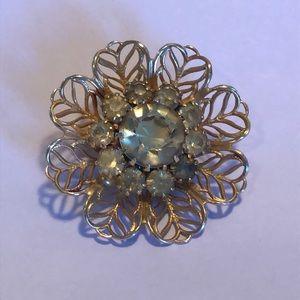 Crystal stone gold tone Brooch